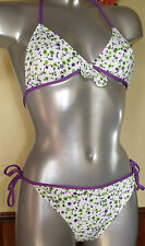 MAILLOT DE BAIN 2 PIECES TRIANGLE 16 ans blanc liberty violet COCO fille NEUF