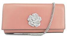 Michael Kors Shoulder Clutch Bag Rose Pink Leather Chain Bellamie Handbag