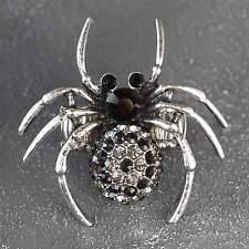 Neu RING SPINNE mit STRASSSTEINE schwarz/grau FINGERRING Farbe silber SPIDER