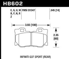 Hawk Disc Brake Pad Rear for Infiniti FX50, G37, Nissan 350Z, 370Z / HB602U.545