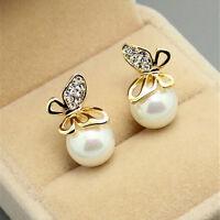 1 Pair Fashion Jewelry Women Crystal Gold Butterfly Pearl Ear Stud Earrings JRau