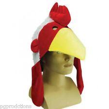 Funny Jumbo Plush Chicken Hat Rooster Adult Costume Cap Chef Hen Yellow Beak Gag