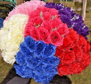 Rose Artificial silk Flower 12 Heads  Wedding Party Bridal Bouquet Home Decor