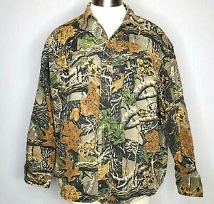Vtg Cabela's Camouflage Shirt XL Heavy Canvas Flannel Seclusion 3D Jacket Camp