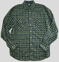 Dockers Button Down Shirt Green Plaid 100% Cotton Long Sleeve Casual Size M