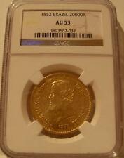 Brazil 1852 Gold 20000 Reis NGC AU-53 Pedro 2