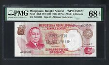 Philippines 50 Piso  ND(1969) P146s2 Specimen Perforated Uncirculated Grade 68