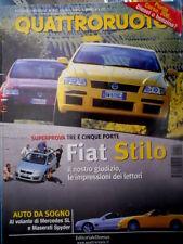 Quattroruote 552 2001 Prova Fiat Stilo 3p. AL volante di Maserati Spider [Q73]