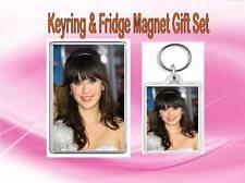 Zooey Deschanel Key Ring & Fridge Magnet Set