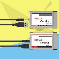 JN_ HN- Laptop PCMCIA to USB 2.0 CardBus Converter 2 Ports PCI Express Card Ad