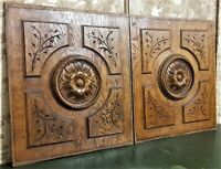 Pair rosette decorative wood carving panel Antique french architectural salvage