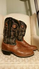 Men's Twisted X Tan/ Dk. Brown Leather Round Toe Pull On Cowboy Boots Size 11 EE