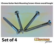 Set of 4 x 45mm guitar neck mounting screws in chrome from Warman Guitars
