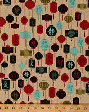 Serenity Garden Chinese Lanterns Asian Lamps Cream Cotton Fabric BTY D567.39
