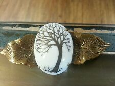 Vintage Porcelain Coat Pin, Broach, Brooch With Brass Tree Inlay