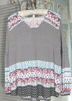 NEW~Plus Size 3X 2X Black Ivory Floral Print Pin Tuck Shirt Top Blouse