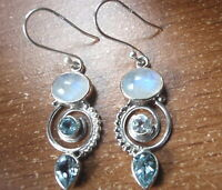 Faceted Blue Topaz and Moonstone Triple Gem 925 Sterling Silver Dangle Earrings