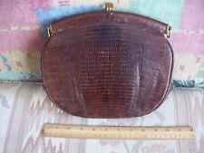 Vintage Lesco Alligator Brown Handbag with Brass snap clasp