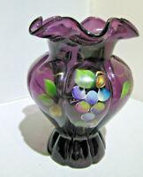 Fenton  Art Glass Hand Painted Amethyst/Purple Vase