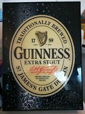 Guiness Beer Light Box Sign Wall Mounted Black Finish Lighted Ireland St Patrick