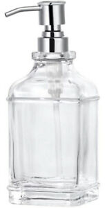 Soap Lotion Dispenser Rust Proof 18oz Stainless Steel Pump Clear Square Glass