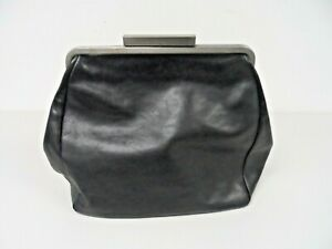 Ally Capellino Black Leather Large Clutch Bag  A111