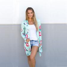 UK Boho Womens Loose Floral Kimono Cardigan Ladies Casual Jacket Tops Plus Size
