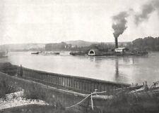 RHÔNE. Navigation Sur le grand Rhône 1900 old antique vintage print picture