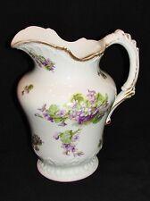 LIMOGES GRAND BROC PICHET décor violettes 19 ème siècle antique pitcher