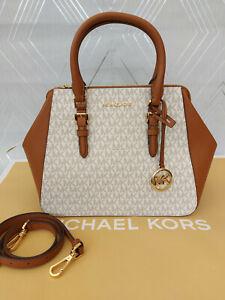 Michael Kors Ladies Charlotte Large Logo Satchel Crossbody Bag BNWT Vanilla