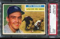 1956 Topps Baseball #253 IRV NOREN New York Yankees PSA 2 GOOD