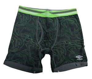 NWT Umbro Men's High Performance Boxer Brief, Black/Green or Black/Red