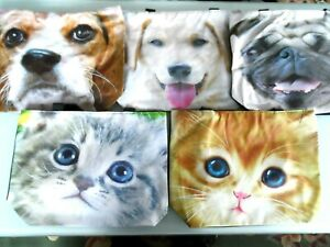 LOVELY DOG & CAT FACE SHOPPING BAGS. ZIPPED