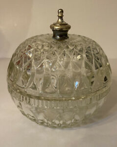 Vintage Cut Crystal Round Candy Dish Bowl with Lid and Brass Handle