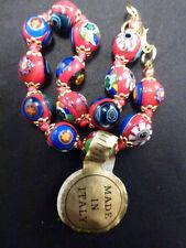 "Vintage Venetian Murano Millefiori Art Glass Bead  bracelet 8 ""  with  tag RED"