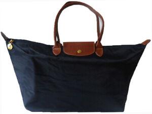 Womens Girls Nylon Tote Shopper School Foldable Bag Size XLarge Dark Blue