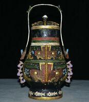 """12 """"vieux bronze chinois Ware peint vase bocal portable pot tête de bête visage"""