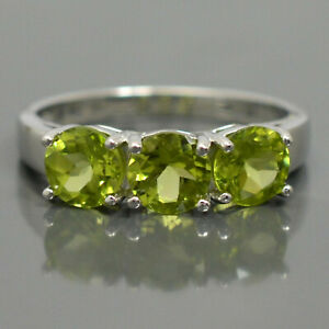 6MM Round Cut Natural Peridot Gemstone 925 Solid Silver Cluster Anniversary Ring