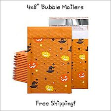 25 Pack 4x8 Halloween Designer Bubble Mailers Self Seal Adhesive Free Ship