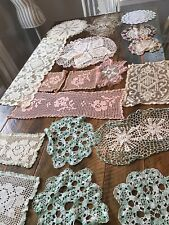 New listing Lot Vintage Crochet Boho Lace Crochet Doily Doilies Table Toppers Pink Green