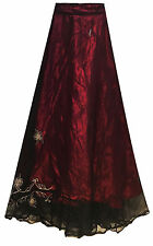 LONG purple embroidered LINED princess skirt FITS 10 12 14 16 belly dancing FAE