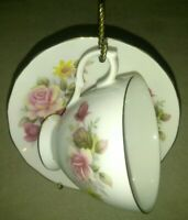 RIDGWAY QUEEN ANNE BONE CHINA MADE IN ENGLAND CUP AND SAUCER PINK  FLORAL