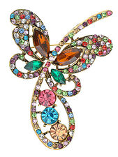 Golden Abstract Colorful Crystal Rhinestone Encrusted Butterfly Brooch Design