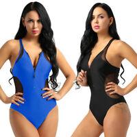 Damen Einteiliger Badeanzug Schwimmanzug Monokini Bodysuit Overalls Bademode
