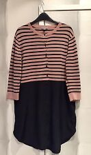 Cos Nude Black Stripe Cotton Silk Tunic Dress Cardigan M 12 14 16 NWOT