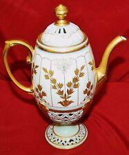 Raised Gold Leaf and Trim Reticulated Footed Coffee Pot
