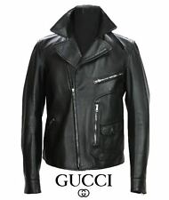 NEW GUCCI MEN'S BLACK LEATHER MOTO BIKER JACKET 52 - US 42