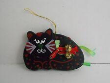 Flat Fat Black Cat ~ Painted Wood w/Ribbons & Bells