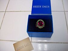 HEIDI DAUS Ring Sz 5 Sensational Fuchsia Topaz Green SWAROVSKI Crystals Goldtone