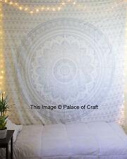 Indian Cotton Silver Ombre Mandala Bedspread Boho Bedding Bed Cover Table Throw